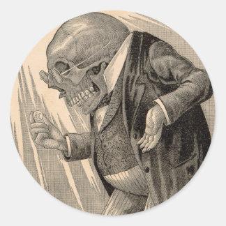 Épargnant squelettique de penny sticker rond