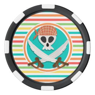 Épées de pirate ; Rayures lumineuses d'arc-en-ciel Jetons De Poker