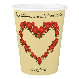 Épousant la tasse de papier avec des roses - coeur gobelets en papier