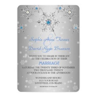 Épouser bleu de perles de cristaux argentés de carton d'invitation  12,7 cm x 17,78 cm