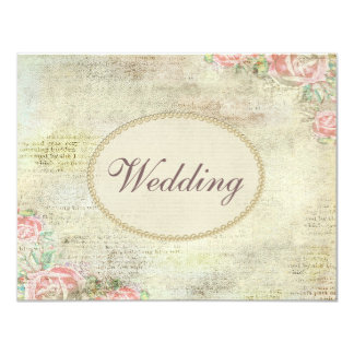 Épouser chic minable imprimé de perles et de roses carton d'invitation 10,79 cm x 13,97 cm