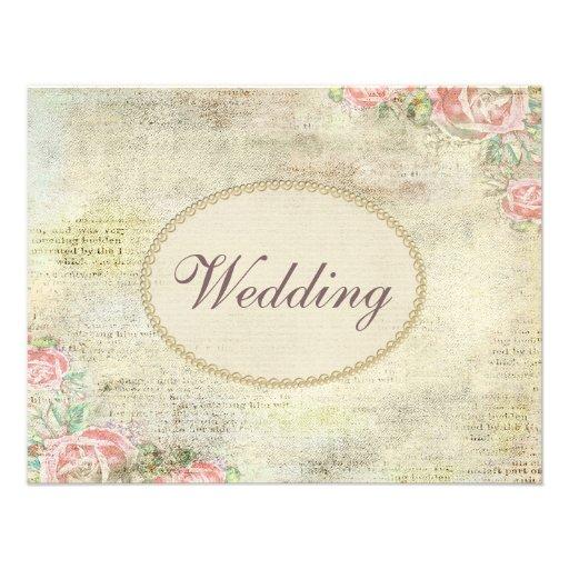 Épouser chic minable imprimé de perles et de roses invitations personnalisées