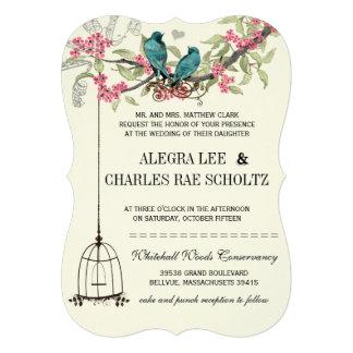 Épouser d oiseaux de rose et de fleurs de cerisier faire-part personnalisé