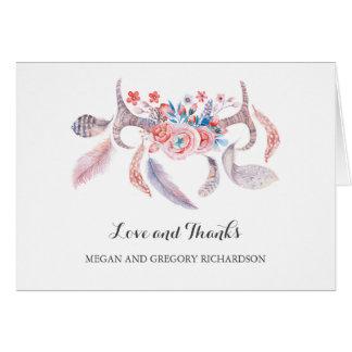 épouser floral de plumes de boho d'andouillers carte de correspondance