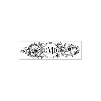 Épouser floral vintage de cadre et d'initiales tampom encreur de poche