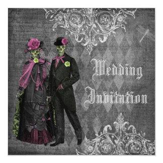 Épouser gothique élégant de squelettes de jeune carton d'invitation  13,33 cm