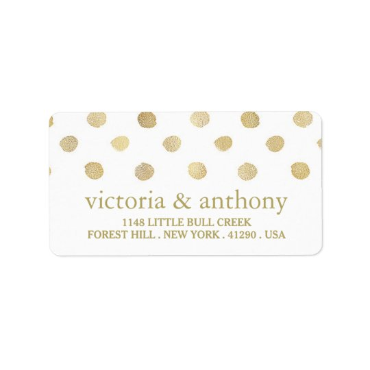 Épouser moderne de pois de blanc et d'or étiquette d'adresse