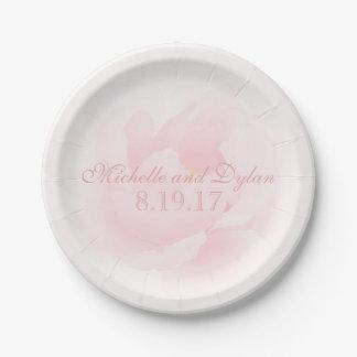 Épouser rose-clair de pivoine d'aquarelle élégant assiettes en papier