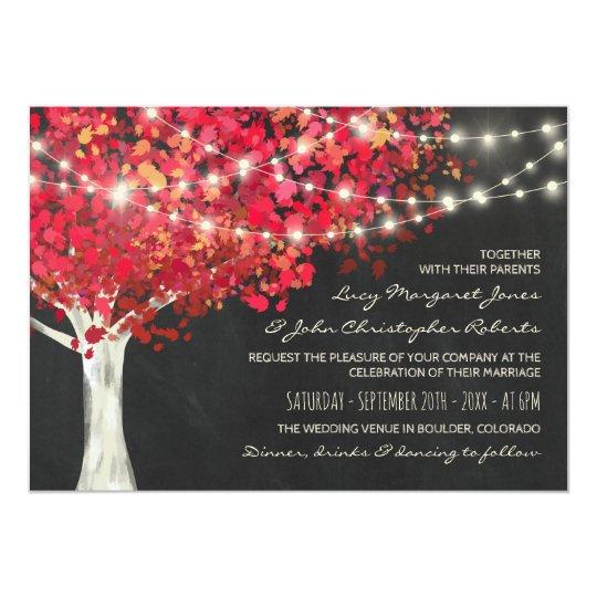 Épouser rouge de lumières d'arbre et de ficelle carton d'invitation  12,7 cm x 17,78 cm