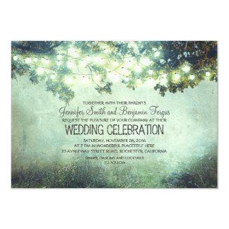 épouser rustique de lumières de branches d'arbre carton d'invitation  12,7 cm x 17,78 cm