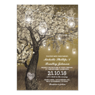 Épouser rustique de lumières de cerisier et de carton d'invitation  12,7 cm x 17,78 cm