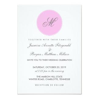 Épouser simple de pois de monogramme gris rose carton d'invitation  12,7 cm x 17,78 cm