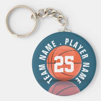 Équipe de basket faite sur commande porte-clé rond