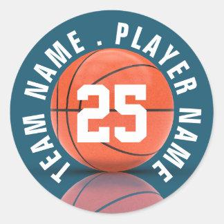 Équipe de basket faite sur commande sticker rond
