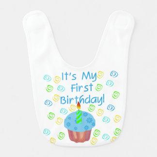 Bavoir Ęr bavoir d'anniversaire de petit gâteau bleu
