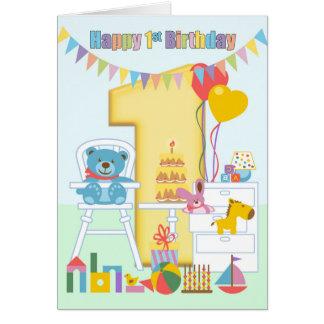 ęr Carte de voeux d'anniversaire, joyeux premier