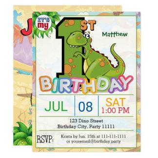 ęr Invitation de dinosaure de fête d'anniversaire