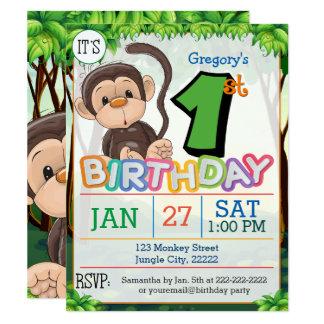 ęr Invitation de singe de fête d'anniversaire