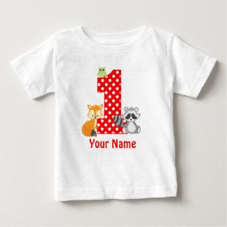 ęr Les animaux de région boisée d'anniversaire ont T-shirt Pour Bébé