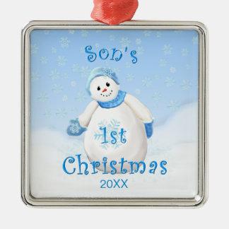 Ęr ornement de bonhomme de neige de Noël du fils