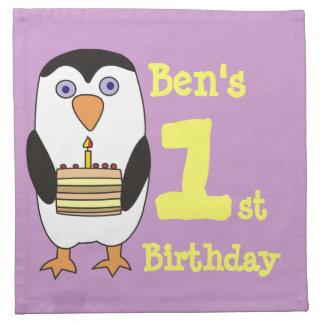 ęr Serviettes mignonnes de pingouin d'anniversaire