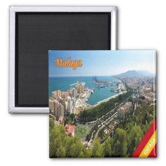 Es - Panorama de l'Espagne - de Malaga Magnet Carré
