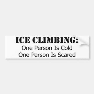Escalade de glace - froid, effrayé autocollant de voiture