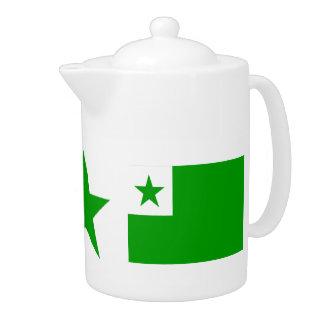 Espéranto : Étoile et théière vertes de drapeaux