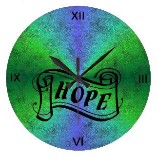 Espérez sur l'arc-en-ciel dans l'optik de cuir de grande horloge ronde