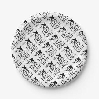 esprit libre avec le joli oiseau d'hirondelle assiettes en papier