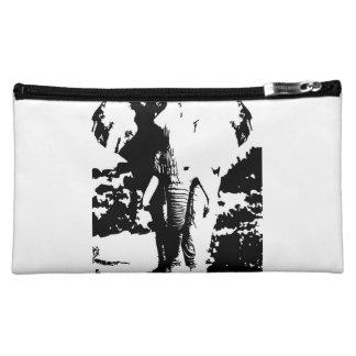 Esthéticien avec l'éléphant noir et blanc pochette make-up