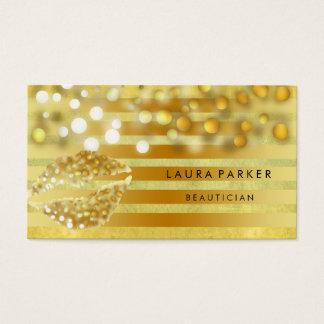 Esthéticien d'or de maquilleur de rayures d'or de cartes de visite