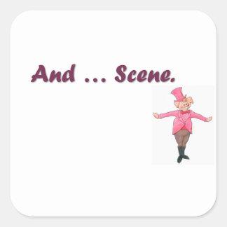 Et… scène sticker carré