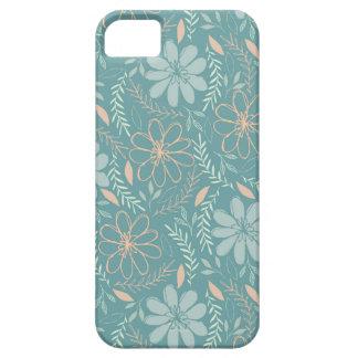 Et verte motif illustré par fleur bleue coques iPhone 5 Case-Mate