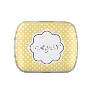 Étain jaune et blanc de monogramme de pois boites jelly belly