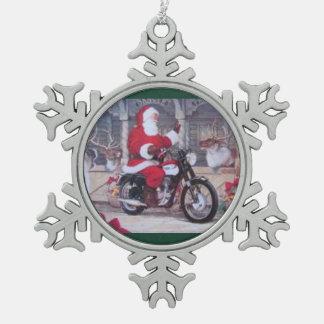 Étain Père Noël sur un ornement de Noël de moto