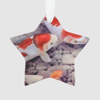 Étang à poissons rouge et blanc de Koi