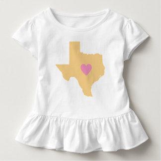 État du Texas d'or avec le T-shirt rose de coeur