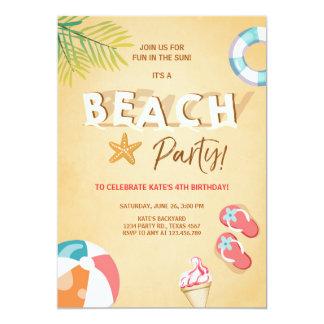 Été de BBQ d'anniversaire de plage d'invitation de Carton D'invitation 12,7 Cm X 17,78 Cm