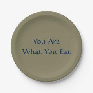 Êtes vous ce qui vous mangez les plaques à papier assiettes en papier