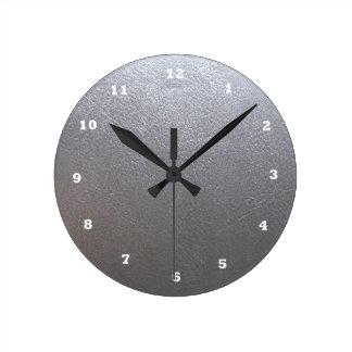Étincelle de gris ARGENTÉ : Finition simili cuir Horloge Ronde