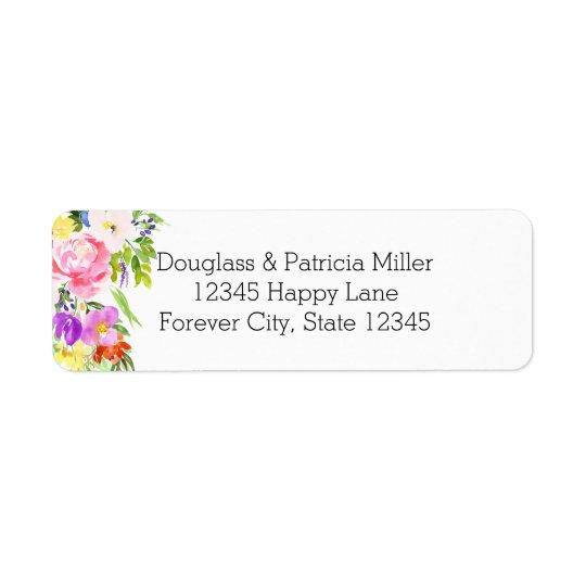 Étincelle florale pourpre rose d'or d'aquarelle étiquette d'adresse retour