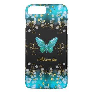 Étincelles bleues turquoises exotiques de papillon coque iPhone 8 plus/7 plus