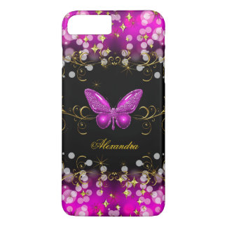 Étincelles exotiques de papillon de noir d'or de coque iPhone 7 plus