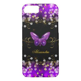 Étincelles pourpres exotiques de papillon de noir coque iPhone 7