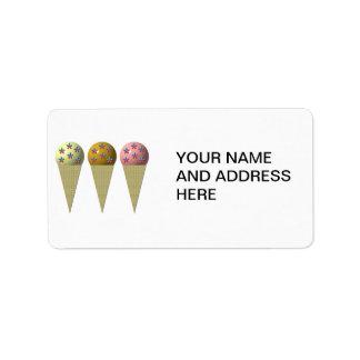 Étiquette 3 cornets de crème glacée : Vanille, chocolat et