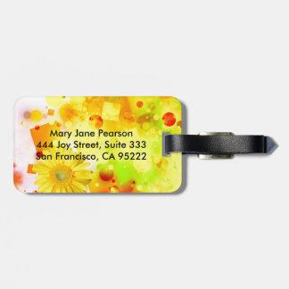 Étiquette À Bagage Abrégé sur jaune audacieux et chic aquarelle de