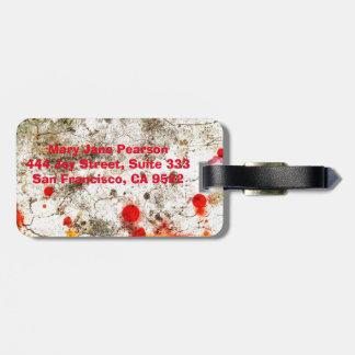 Étiquette À Bagage Abrégé sur jaune rouge en bois audacieux et chic