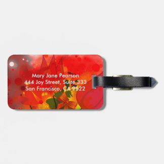 Étiquette À Bagage Abrégé sur rouge audacieux et chic aquarelle de