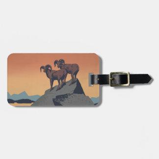 Étiquette À Bagage Affiche vintage de faune de mouflons d'Amérique